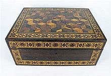 A VICTORIAN ROSEWOOD AND TUNBRIDGE-WARE SEWING BOX. Width 30cm.