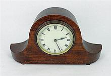 AN ENGLISH MAHOGANY MANTEL CLOCK with parquetry stringing; Roman numeral dial, timepiece movement. Height 15cm.