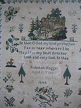 A 19th CENTURY WOOL NEEDLEWORK SAMPLER dated 1844. 47 x 42cm.