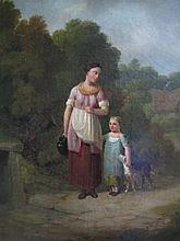 19th CENTURY ENGLISH SCHOOL 'MOTHER & CHILD FETCHING WATER'. Oil on canvas. 34 x 31.5cm.