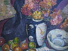 FRANCIS ROY THOMPSON (1896-1966) 'STILL LIFE - FLOWERS IN A CHINESE VASE'. Oil on canvas. Signed lower right. 49 x 54cm. (Macquarie..