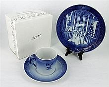 TWO ROYAL COPENHAGEN CUPS & SAUCERS, AND TWO PLATES. (4)