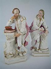 A PAIR OF 19th CENTURY PORCELAIN FIGURES 'MILTON' AND 'SHAKESPEARE', the figures each holding a scroll with quotes respectively fro
