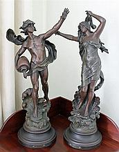 A PAIR OF SPELTER FIGURES, after Auguste Moreau, 'Le Torrent' and 'Galathée'. (2)