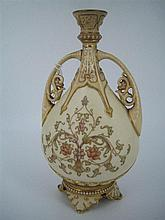 A 19th CENTURY WORCESTER PORCELAIN VASE, double-handled; buff ground; c.1887. Height 21cm.