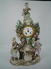 A 19th CENTURY PORCELAIN MANTEL CLOCK, the Rococo Revival case bearing a Meissen-type mark, encrusted with figures and flowers; Roma...