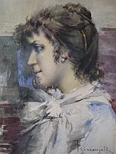 F.GIACOMELLI 'PROFILE PORTRAIT OF A YOUNG LADY' Watercolour. Signed lower right. 50 x 30cm.