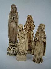 FOUR 18th/19th CENTURY PORTUGUESE CARVED BONE SANTOS FIGURES. (4) Heights 11 - 17cm. (one restored)