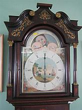 †A LATE-18th CENTURY MAHOGANY AND INLAID LONG-CASE CLOCK, the hood and trunk with detached stop-fluted columns with brass capitals; t..