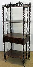 A VICTORIAN BURR WALNUT FOUR-TIER WHATNOT, with fret-pierced three-quarter gallery, twist-turned supports and fitted with a drawer....
