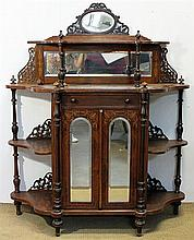 A VICTORIAN BURR WALNUT AND INLAID CREDENZA with fret-pierced and bevel-edged mirror panels above an enclosed cupboard flanked by op...