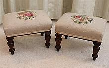 A PAIR OF AUSTRALIAN COLONIAL CEDAR FOOTSTOOLS, each rectangular with wool needlework top, on turned legs. Width each 31cm.