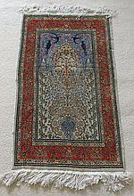 A CENTRAL PERSIAN SILK PRAYER RUG with arcaded niche. 110 x 69cm.