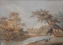 GEORGE BAXTER 'BOLTON ABBEY' Chromolithographic print, in rosewood frame. 6.5 x 8.5cm.