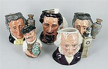 FIVE ROYAL DOULTON CHARACTER JUGS, including Charles Dickens. (5)