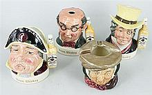 THREE ROYAL DOULTON 'JIM BEAM' WHISKY DECANTERS, AND AN ASHTRAY. (4)