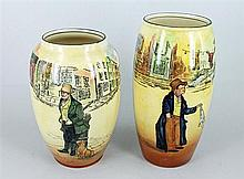 TWO ROYAL DOULTON 'DICKENS WARE' VASES, 'Bill Sykes' and 'Artful Dodger'. (2) Heights 18cm and 20cm.