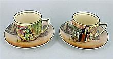 SIX ROYAL DOULTON 'DICKENS WARE' CUPS AND SAUCERS. (6)