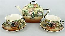 A ROYAL DOULTON 'DICKENS WARE' TEAPOT, AND SIX CUPS, SAUCERS & PLATES. (7)