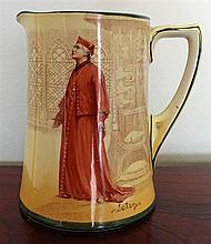 A ROYAL DOULTON SERIES-WARE JUG, 'Cardinal Wolsey'. Height 14.5cm.