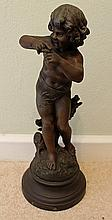 A 19th CENTURY SOFT-METAL FIGURE 'Tarquinerie', after Auguste Moreau, on round plinth. Height 36cm.