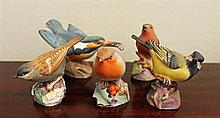 FIVE ROYAL WORCESTER CHINA BIRDS. (5)