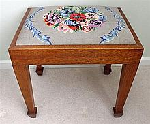 A MAPLE AND WOOL NEEDLEWORK BEDROOM STOOL, rectangular.