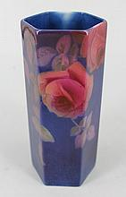 A ROYAL DOULTON 'TITANIUM' VASE, hexagonal. Height 15cm.