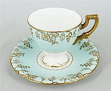 SIX ROYAL CROWN DERBY COFFEE CANS AND SAUCERS; pastel tones heightened in gilt. (6)