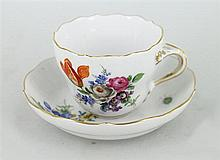 EIGHT MEISSEN COFFEE CUPS AND SAUCERS. (8)
