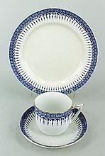 A ROYAL DOULTON CHINA PART DINNER SERVICE, 'Severn Border' pattern, blue and gilt borders. (qty)