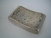 A GEORGE III SILVER SNUFF BOX, rectangular, curved for the pocket, engraved with flower and leaf and with initialled cartouche; Jose...