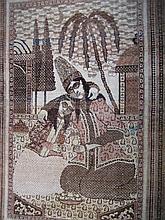 A PAIR OF FERAGHAN SAROUK WOOL PICTORIAL RUGS. Each 175 x 125cm.