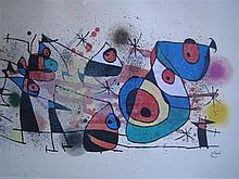 JOAN MIRO (1893-1983) 'ABSTRACT' Colour lithograph. 42 x 66cm.