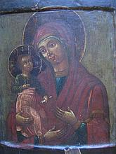 AN 18th CENTURY RUSSIAN ICON 'VLADIMIR MOTHER OF GOD' on wood panel with double kovcheg. 31 x 26.5cm. (losses)