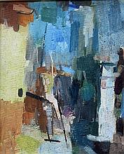 JOHN PASSMORE (1904-1984) 'FIGURES IN A LANDSCAPE' Oil on board. Initialled lower left.  32.5 x 26cm. Label verso: acquired from the.