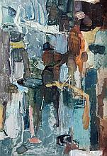 JOHN PASSMORE (1904-1984) 'WATERFRONT SERIES, FIGURES IN QUAY LANDSCAPE'. Oil on board. Initialled lower right. 40.5 x 28cm. Label v.