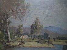 ROBERT TAYLOR-GHEE (1869-1951) 'NEAR BEENLEIGH, QUEENSLAND' Oil on board. Signed lower left. Inscribed verso. 21 x 30cm.