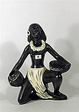 A BARSONY TAHITIAN LADY FIGURINE. Height 33cm.