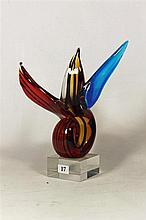 AN ART GLASS ABSTRACT SCULPTURE, Height 27cm.