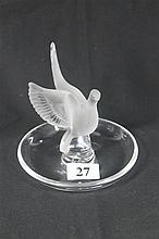 A LALIQUE PIN DISH, surmounted by a dove.