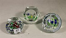 THREE CAITHNESS CRYSTAL PAPER WEIGHTS.