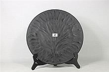A LALIQUE BLACK CRYSTAL 'ALGUES' PLATE, Diameter 28.4cm.