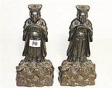 A PAIR OF CHINESE BRONZE BOOKENDS, depicting scholars, ht 18cm.