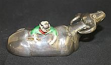 A CHINESE SILVER  'WATER BUFFALO AND CHILD'   WATER DROPPER, with enamelled details to child. Some losses to enamel. lt 14cm.