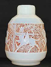 A FRENCH ART DECO OPAL GLASS VASE, with high relief frieze depicting neo-Babylonian hunting scene. ht 35cm