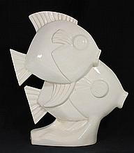 A PAIR OF FRENCH LE JAN CERAMIC FISH. ht 37cm.