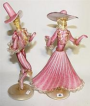 A PAIR OF MURANO ART GLASS FIGURES, lady and gentleman in pink and adventurine, ht 35cm (approx).