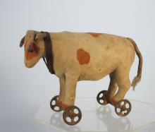 Steiff German Cow on Wheels Rare Toy
