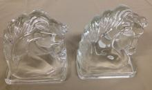 Pair of Glass horse head bookends